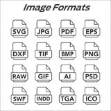 Image format icons - PNG, JPG, EPS, PDF, SVG Stock Photography