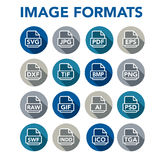 Image format icons - PNG, JPG, EPS, PDF, SVG. Icons to show different image formats, including JPG, SVG, EPS, DXF, etc Royalty Free Stock Image