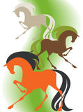 Image of four  silhouettes thoroughbred horses. On a green background Royalty Free Stock Photography