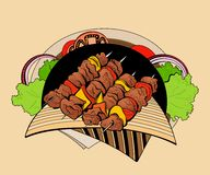 Image of four skewers with pieces shashlik Royalty Free Stock Photography
