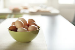 Image of fresh brown chicken eggs in a plate Stock Photo