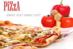 Image of fresh italian pizza and vegetables Royalty Free Stock Images