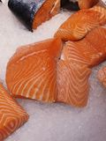 Image of fresh Norwegian salmon on crushed ice. Image of fresh Norwegian salmon on cold crushed ice stock image
