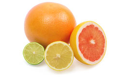 Image of a fresh whole lime, lemon and orange Royalty Free Stock Images