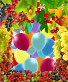 Image of fruits and balloons in the garden closeup Stock Photo