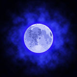 Image of the full moon. Images of the full moon with blue clouds Royalty Free Stock Photography