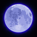 Image of the full moon. Images of the full moon with blue clouds Royalty Free Stock Image