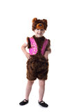 Image of funny little boy posing in bear suit Royalty Free Stock Image