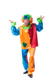 Image of funny man posing in clown costume. Studio shot of funny man posing in clown costume Stock Photography