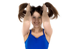 Image of funny woman with long hair Stock Photography