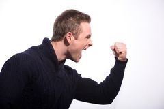 Image of furious young man shouting Royalty Free Stock Photography