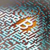 Image futuriste d'argent numérique Bitcoins de technologie de réseau autour du monde Photo stock