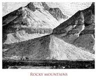 Image géographique de cru, Rocky Mountains North America illustration stock