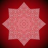 Image géométrique de mandala sur le fond rouge Photographie stock libre de droits