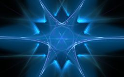 Image of a geometric figure of blue in the shape of a snowflake with a circle in the center and blurred rays on a black background.  Stock Photos