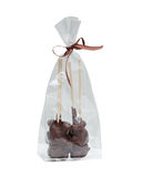 Image of gift bag with chocolate figurines Royalty Free Stock Photography