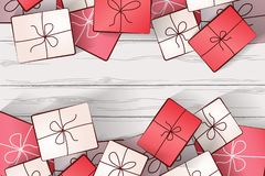 Image of gifts on a background of white wooden boards stock illustration