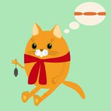 Image ginger cat in a scarf Stock Images