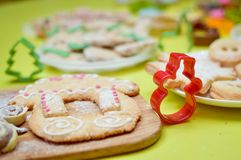 Image of gingerbread house on wooden desk green Stock Photos