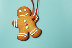 Image of Gingerbread man on green background Royalty Free Stock Images