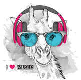 The image of the giraffe in the glasses and headphones. Vector illustration. Royalty Free Stock Image
