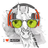 The image of the giraffe in the glasses and headphones. Vector illustration. Royalty Free Stock Photo