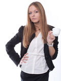 The image of a girl with a coffee cup Royalty Free Stock Images