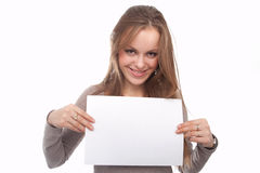 The image of girl with the empty list of paper Royalty Free Stock Image