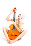 The image of the girl with a guitar Royalty Free Stock Images