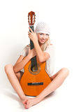 The image of the girl with a guitar Stock Photo