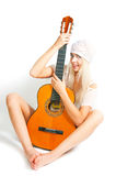 The image of the girl with a guitar Royalty Free Stock Photos