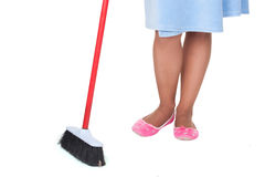 The image of girl with a mop Royalty Free Stock Image