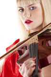 Image a girl playing the violin. On white Royalty Free Stock Image