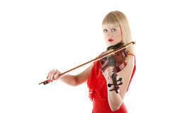 Image a girl playing the violin. On white Royalty Free Stock Photo