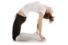 Image of a girl practicing yoga. On white Royalty Free Stock Photos