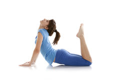 Image of a girl practicing yoga. On white Royalty Free Stock Photo