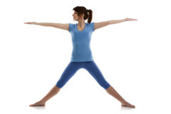 Image of a girl practicing yoga. On white Royalty Free Stock Image