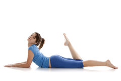 Image of a girl practicing yoga. On white Royalty Free Stock Photography