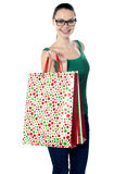 Image of glamorous shopping girl holding bags Royalty Free Stock Photos