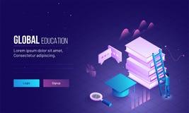 Image globale de page ou de héros d'atterrissage d'éducation avec l'illustration 3D illustration libre de droits