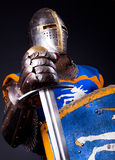 Image of glory knight. Picture of crusader. Studio shot Royalty Free Stock Images