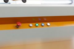 Image of glowing buttons on working loom Royalty Free Stock Photography