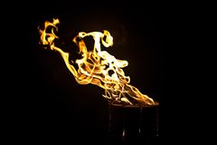 Image of glowing log, fire by night Royalty Free Stock Photos