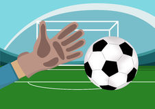 Image of goalkeeper hand with gloves holding a soccer ball. Stadium with Football field and gates on background.Vector. Image of goalkeeper hand with gloves Stock Photo