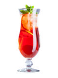 Image of goblet with refreshing fruit cocktail Royalty Free Stock Images