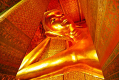 Image of gold color buddha in the temple bangkok thailand Stock Photography