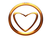 Image of gold heart inside of a gold wedding ring. Royalty Free Stock Photo