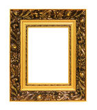 Image of golden art frame isolated on white Royalty Free Stock Image