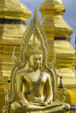 Image of golden buddha statue in temple in province tak. Stock Image