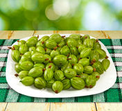 Image gooseberries on the table closeup Royalty Free Stock Images